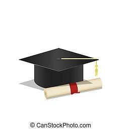 berretto laurea, e, diploma, uno, simbolo, di, graduation., bianco, fondo, vector.