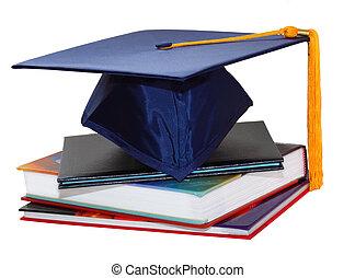 berretto laurea, e, libri