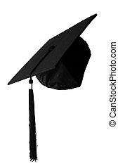 berretto laurea, isolato, bianco, fondo