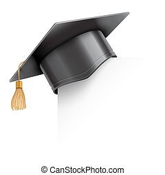 berretto laurea, su, carta, angolo