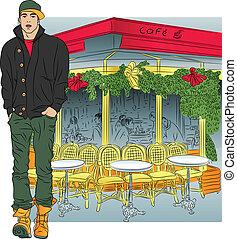 berretto, parigino, giacca, stivali, sketch-style, jeans, fondo, elegante, tipo, caffè