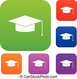 berretto, set, graduazione, collezione