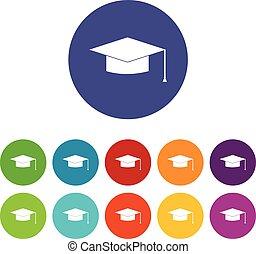 berretto, set, graduazione, icone