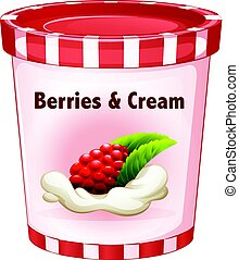 Berries and cream in cup illustration