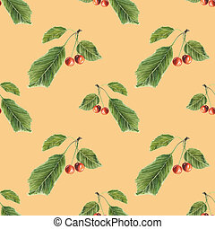 Berries and leaves cherry on orange background. Watercolor hand made. Seamless colorful pattern