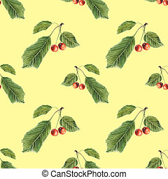 Berries and leaves cherry on yellow background. Watercolor hand made. Seamless colorful pattern