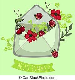 berries., bonjour, lettrage, enveloppe, graphics., été, vecteur, summer.
