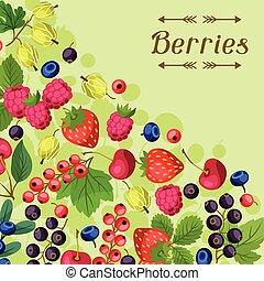 berries., desenho, fundo, natureza