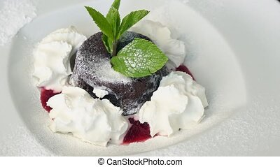 Berries dessert with whipped cream
