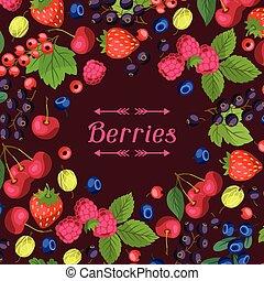 berries., disegno, fondo, natura