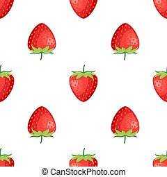 Berries fruit strawberry with leaves seamless pattern for textile prints, cards, design. Flat style, vector illustration