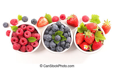berries fruits background. strawberry, blueberry and raspberry