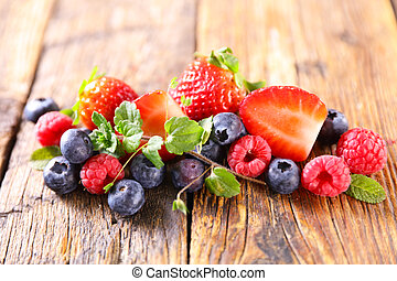 berries fruits- strawberry,  raspberry and blueberry