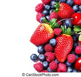 berries, grænse, isoleret, white., berry, organisk, forår