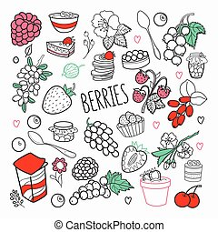 Berries Hand Drawn Doodle. Outline Berry Set with Grape, Cherry and Strawberry. Vector illustration