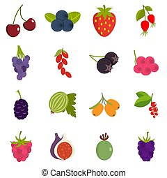 Berries icons set in flat style