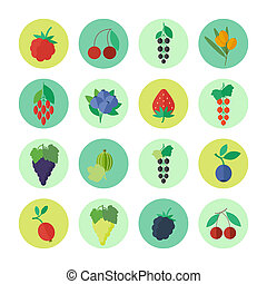Berries icons set