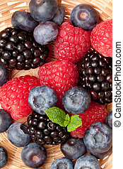 Berries in a basket in a high angle view