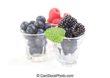 Berries in glasses