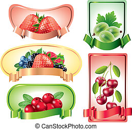 Berries labels vector set