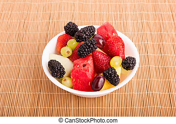 Berries Melons and Grapes in White Bowl