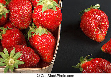 Berries of juicy ripe strawberries
