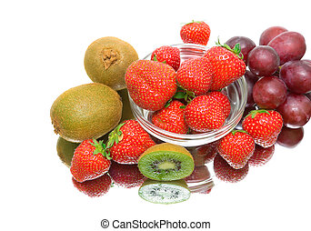 berries on a white background with reflection