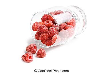 berries raspberries in a glass