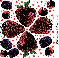 berries seamless hand drawn pattern