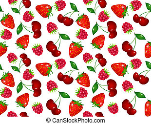 Seamless pattern with ripe summer berries