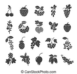 Berries silhouettes icons set. Blackberry barberry...