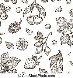 Berries sketch pattern background. Vector seamless flower