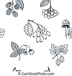 Berries sketch seamless pattern. Vector illustration