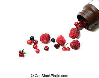 Berries spilling out of pills bottle