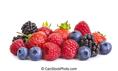 Berries - Group of berries isolated on white background