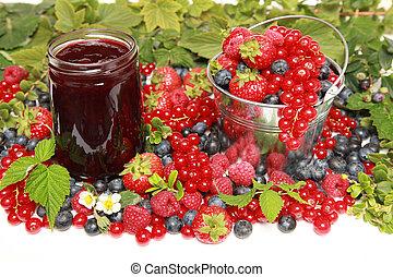 Berries - Strawberries, red currants, raspberries and...