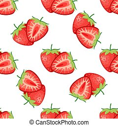 Berries strawberry with leaves seamless pattern