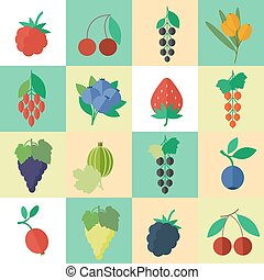 Berries vector icons set