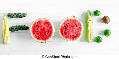 berriess, og, grønsager, sæt, ind, en, glose