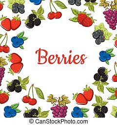 Berry and fruit poster. Fruity frame design