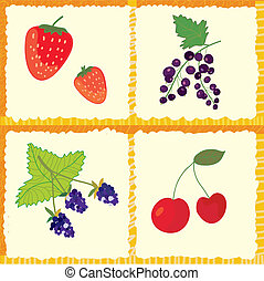 Berry and fruits seamless pattern checked design