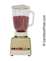 Berry Banana Smoothie in Vintage Blender Isolated