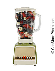 Berry Bananna Smoothie Mix in Vintage Blender Isolated
