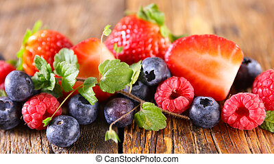 berry fruit- strawberry,  blueberry and raspberry