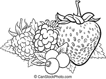 Black and White Cartoon Illustration of Four Berry Fruits like Blueberry and Blackberry and Raspberry and Strawberry Food Design for Coloring Book