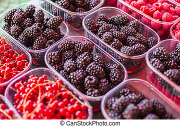 Berry fruits on the market