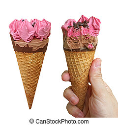 berry ice cream with hand hold.