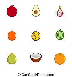 Berry icons set, flat style