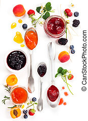 Berry jam - Apricot ,blackberry and strawberry jam on white...