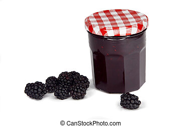 berry jam on white background